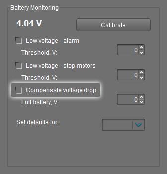 Compensate voltage drop in GUI